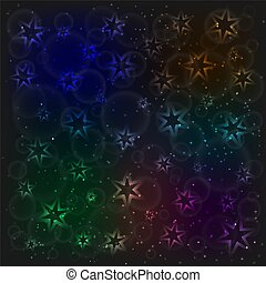 The magic rainbow pattern with glowing neon stars, bubblies and sparkling particles. Space background. Design template. The night sky vector illustration.