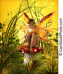 The Magical Fall - a little fairy is sitting on a fly agaric