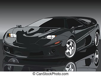 The magnificent car - The black sports car on mirror to a...