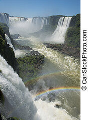 the magnificent garganta del diablo at the iguazu falls, one of the seven natural wonders of the world