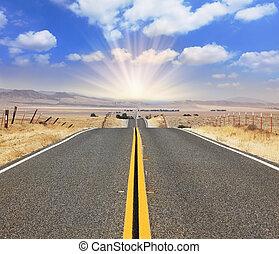 The magnificent highway - The bright sun illuminates the...