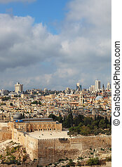The magnificent panorama of the Holy City of Jerusalem.