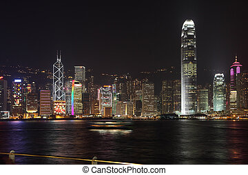 The magnificent panorama of the night in Hong Kong