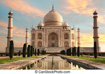 The magnificent Taj Mahal at a glorious sunrise - The...