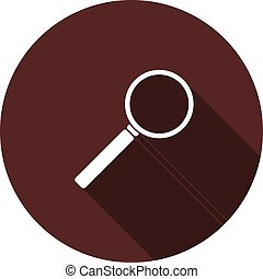 The magnifying glass icon on round maroon color, vector image