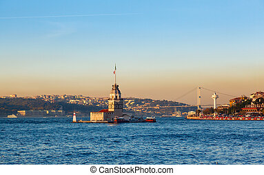 The Maiden's Tower in istanbul, Turkey on background blue...