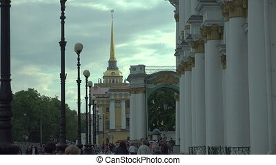 The main Admiralty in Saint-Petersburg 4K. - The main...