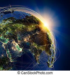 Highly detailed planet Earth at night, lit by the rising sun, with embossed continents, illuminated by light of cities, translucent and reflective ocean. Earth is surrounded by a luminous network, representing the major air routes based on real data