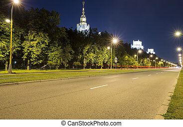 The Main Building Of Moscow State University On Sparrow Hills at Night , Russia