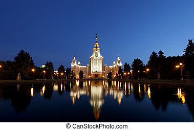 The Main Building Of Moscow State University On Sparrow Hills at Night, Russia