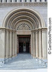 The main doorway of Saints Peter and Paul Church - San Francisco CA
