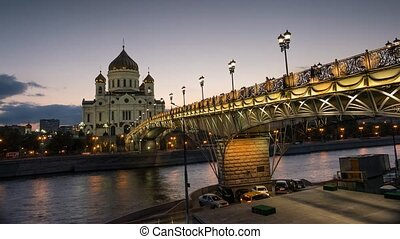 The Main Orthodox Church in Moscow the Cathedral of Christ the Saviour and Patriarshy Bridge over the Moskva River in the summer