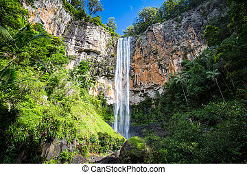 The majestic and iconic Purling Brook Falls on a warm autumn day in Springbrook National Park near the Gold Coast, Queensland, Australia