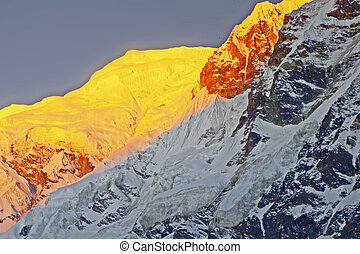 The majestic Annapurna range of the himalayas at first light of sunrise