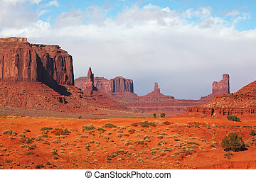 The majestic Monument Valley. Famous bright orange sandstone...