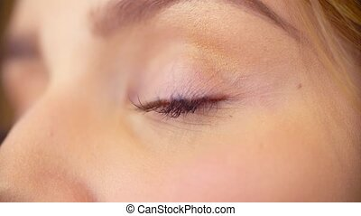 The makeup artist applying eyeshadow - Extreme close up of...
