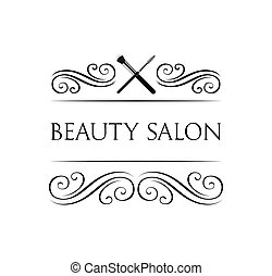 The Makeup Brush. Beauty Salon. Badge. Filigree swirls and curls decorations vector illustration.