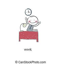 The man at the desk. Illustration.