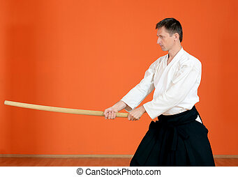 The man carries out exercises aikido - The man carries out...