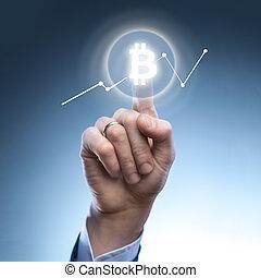 the man clicks Icon Bitcoin on virtual screen.
