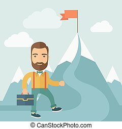 The Man Climbing the Mountain of Success