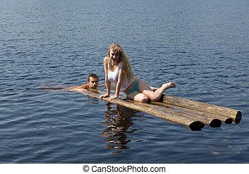raft in lake