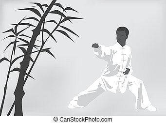The man engaged kung fu on a black white background