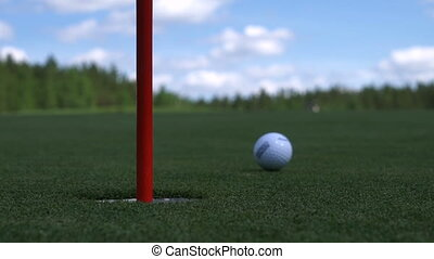 The man hits the Golf ball. Golf course