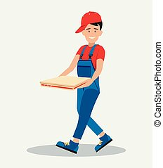 The man hurries to deliver the pizza. The concept of food service. Style flat.