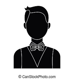 The man in a suit. The croupier, the person who follows the game in the casino.Kasino single icon in black style vector symbol stock illustration.