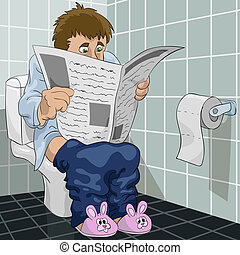 The man in a toilet - The man reads the newspaper in a...