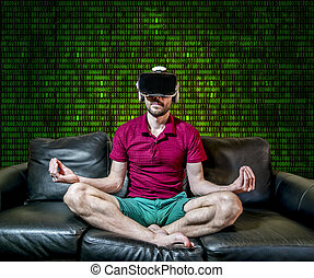 The man in glasses virtual reality sitting in the Lotus position