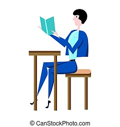 The man in the blue suit sitting at a table reading a book. Vector illustration in flat style, isolated on white.