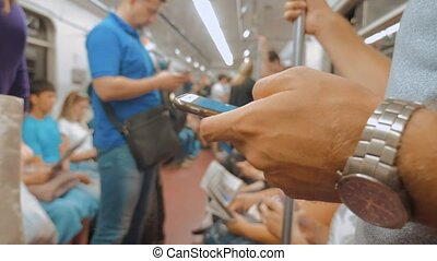 the man in train railway the metro reads messages in social...