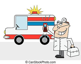 doctor and an ambulance car
