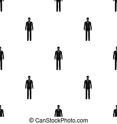 The man is a doctor in uniform and a protective mask. The medicine single icon in black style vector symbol stock illustration web.