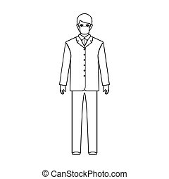 The man is a doctor in uniform and a protective mask. The medicine single icon in outline style vector symbol stock illustration web.