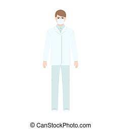 The man is a doctor in uniform and a protective mask. The medicine single icon in cartoon style vector symbol stock illustration web.