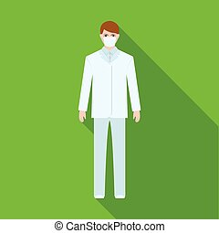 The man is a doctor in uniform and a protective mask. The medicine single icon in flat style vector symbol stock illustration web.