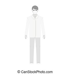 The man is a doctor in uniform and a protective mask. The medicine single icon in monochrome style vector symbol stock illustration web.