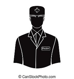 The man is a doctor in uniform. Medicine single icon in black style vector symbol stock illustration web.