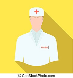 The man is a doctor in uniform. Medicine single icon in flat style vector symbol stock illustration web.