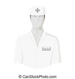 The man is a doctor in uniform. Medicine single icon in monochrome style vector symbol stock illustration web.
