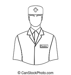The man is a doctor in uniform. Medicine single icon in outline style vector symbol stock illustration web.