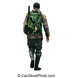 The man is a hunter with a shotgun and backpack.