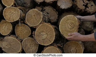 The man is folding logs - Men's hands fold the cut logs
