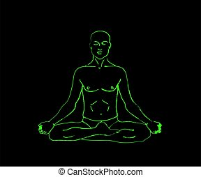 The man is meditating on a black background. Male silhouette. Vector