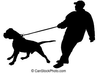 The man just keeps his large dog on a leash (vector)