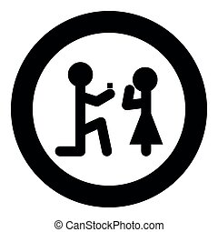 The man makes an offer woman stick icon in round black color vector illustration