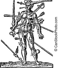 The Man of Wounds old engraving Illustration from the Opera ...